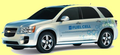 Car running with electric motors powered by hydrogen fuel cells produced by GM