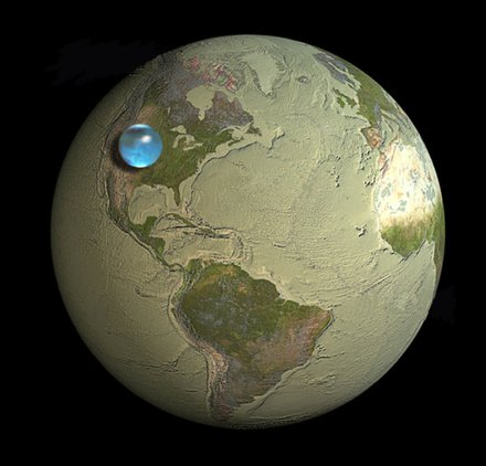 Conservation education Water on Earth: This little blue sphere contains all the water on Earth. Water data explains why water conservation is important, why to learn water physics, water chemistry